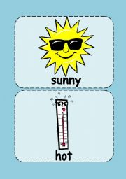 English Worksheet: Weather flashcards (with words on the cards)