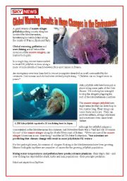 English Worksheet: GLOBAL WARMING - the invastion of jellyfish