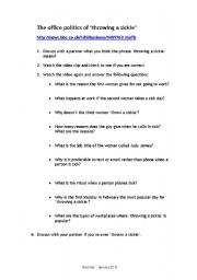 English Worksheet: Health - the office politics of throwing a sickie