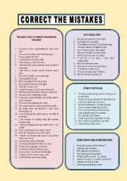 English Worksheets: correct the mistakes 4