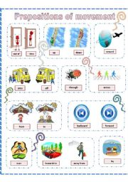 English Worksheet: Prepositions of movement, poster (B&W version also included)
