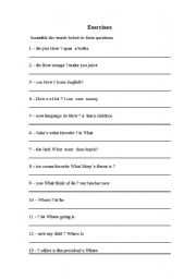 English Worksheets: Questions exercises