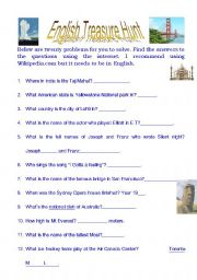 English Worksheet: English treasure hunt