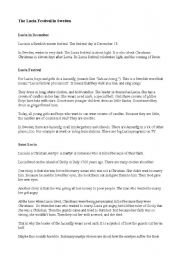 English Worksheets: The Lucia Festival in Sweden