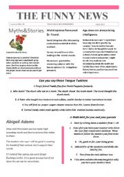 English Worksheet:   Funny News issue number 25 conversation,reading and writing prompts