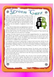 English Worksheets: Green Cars