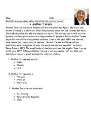 worksheet: Comprehension on Mother Teresa