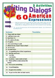 English Worksheet: 60 American Expressions (33 pages) + 2 activites and a Game. Instructions are included