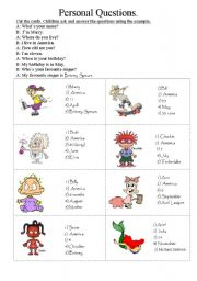 English Worksheets: Identity Cards. Personal questions.