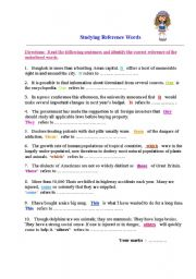 English Worksheets: Studying reference words