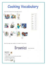English Worksheet: Cooking Vocabulary Ws (2 pages)