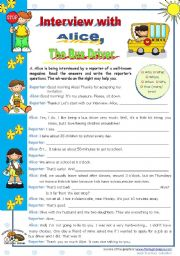English Worksheet: An Interview with Alice, the bus driver  - writing activity for elementary and lower intermediate students (A2)