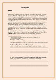 English Worksheet: Renting a flat