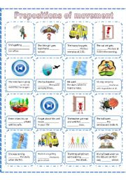 English Worksheet: Prepositions of movement, a worksheet