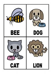 English Worksheets:  24 Flashcards with Animals (1/3)