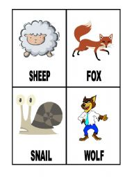 English Worksheets: 24 Flashcards with Animals (2/3)