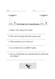 Printables The Giving Tree Worksheets english worksheets the giving tree comprehension worksheet comprehension