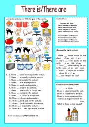 English Worksheets: There is /There are and poems