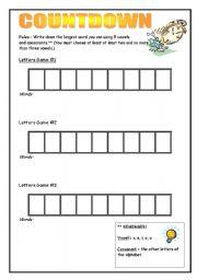 English Worksheets: Countdown Worksheet.