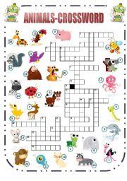 English Worksheets: Animals-Crossword (1/2)