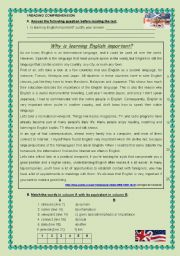 English Worksheet: why is learning english important?