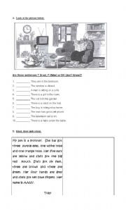 English Worksheets: true or false / draw