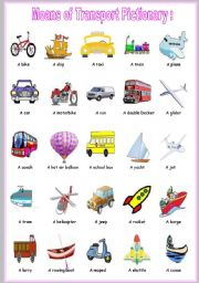 English Worksheet: means of transport pictionary