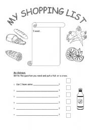 English Worksheet: Shopping list - Can I have...
