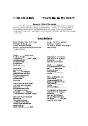 English Worksheet: You�ll be in my heart Phil Collins