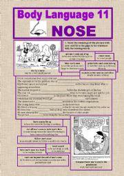 English Worksheets: Body Language 11, NOSE