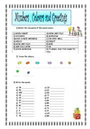 English Worksheets: Numbers , Colours & Greetings