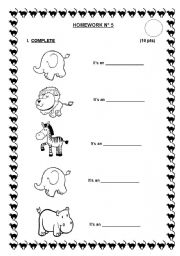 English Worksheet: TEST ABOUT ANIMALS (1st PART)