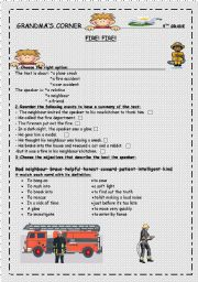 English Worksheets: fire ! fire grandma�s corner