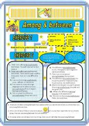 English Worksheet: AMONG & BETWEEN