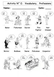 English Worksheets: Vocabulary:  Professions