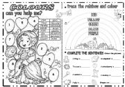 English Worksheet: ACTIVITIES WITH COLOURS