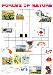 english worksheet forces of nature crossword. Black Bedroom Furniture Sets. Home Design Ideas