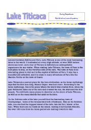 English Worksheets: Lake Titicaca Reading Comprehension