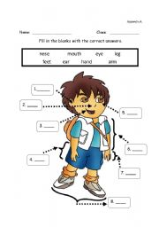 Vocabulary worksheets > Face and body > Body parts