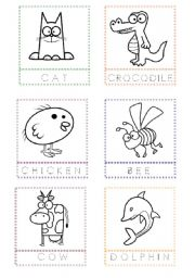 English Worksheet: Animal Flashcards for painting and writing the letters (1)
