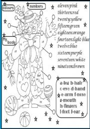 English Worksheets: body,numbers and colours