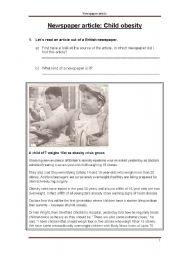 English Worksheet: Newspaper article: Child obesity