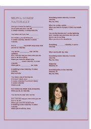 English Worksheets: selena gomez�s song, Naturally