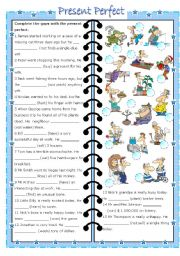English Worksheet: present perfect (editable with key)