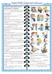 English Worksheet: present perfect simple and continuous (editable, with key)