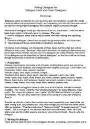 English worksheet: Writing Dialogues for Dialogue Cards and Comic Dialogues