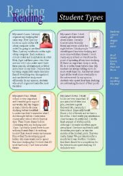 English Worksheets: Reading: Student Types (and comparison of nouns)