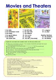English Worksheets: Movies and Theaters