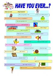 English Worksheets: Have you ever ..? - grammar and speaking