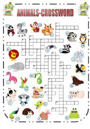 English Worksheet: Animals-Crossword (2/2)